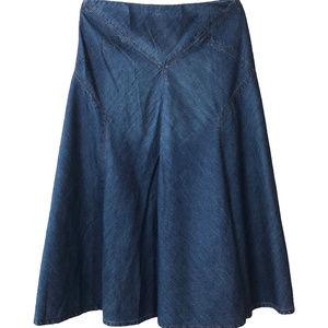 Lauren Ralph Lauren Flare Midi Jeans Skirt Size 8